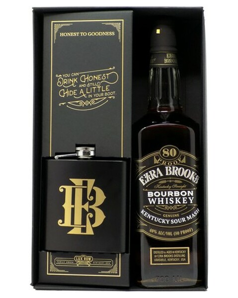 Ezra Brooks Black Label, Gift Package with free Flask - 0,7 lt